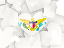 Flag of virgin islands us, heart shaped stickers Stock Image