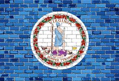 Flag of Virginia on a brick wall. Illustration Stock Images
