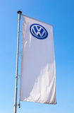 The flag of Volkswagen over blue sky Royalty Free Stock Photography
