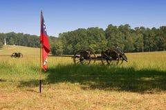 Flag and Wagon. At American Civil war reenactment stock image