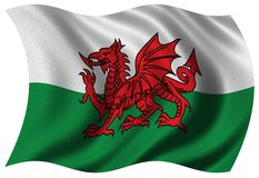 Flag of Wales. Waving in the wind - clipping path included stock photos