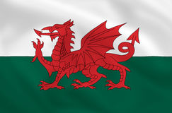 Flag of Wales. Welsh satsilk waving flag (country from europe Royalty Free Stock Images