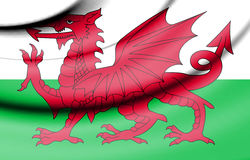 Flag of Wales. 3d Rendered Flag of Wales Stock Photography