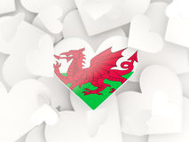 Flag of wales, heart shaped stickers Stock Photos