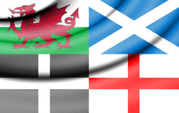 Flag of Wales, Scotland, Cornwall and England. Stock Photography
