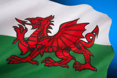 Flag of Wales - United Kingdom. The flag of Wales in the United Kingdom. The flag incorporates the Red Dragon of Cadwaladr, King of Gwynedd, along with the Tudor Royalty Free Stock Photo