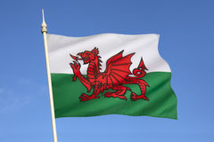 Flag of Wales - United Kingdom. The flag of Wales in the United Kingdom. The flag incorporates the Red Dragon of Cadwaladr, King of Gwynedd, along with the Tudor Stock Image