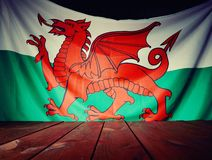 Flag of the Wales with wooden boards. Royalty Free Stock Photo