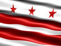 Flag of Washington D.C. Computer generated illustration of the flag of Washington D.C. with silky appearance and waves royalty free illustration