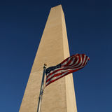 Flag and Washington monument Stock Images