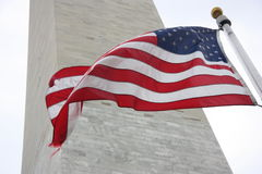 Flag at Washington Monument. American Flag at the Washington Monument Royalty Free Stock Photo