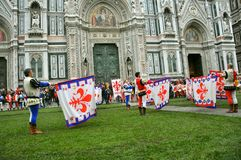 Flag wavers in Italy Stock Images