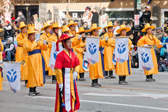 Flag Wavers in the Rose Bowl Parade Royalty Free Stock Image