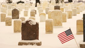 Flag Waves Wind Custer Battlefield Cemetery Tombstones stock video