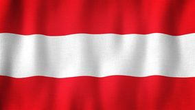Austria flag waving in the wind. Closeup of realistic Austrian flag with highly detailed fabric texture