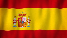 Spain flag waving in the wind. Closeup of realistic Spanish flag with highly detailed fabric texture
