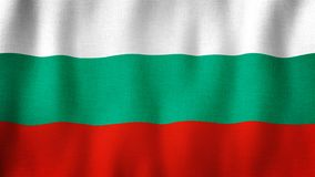 Bulgaria flag waving in the wind. Closeup of realistic Bulgarian flag with highly detailed fabric texture