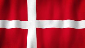 Denmark flag waving in the wind. Closeup of realistic Danish flag with highly detailed fabric texture
