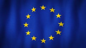 European Union flag waving in the wind. Closeup of realistic EU flag with highly detailed fabric texture