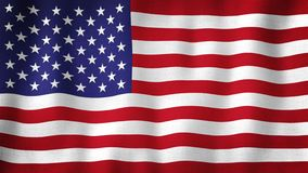 United States USA flag waving in the wind. Closeup of realistic American flag with highly detailed fabric texture