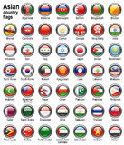 Flag web buttons. Shiny web buttons with Asian country flags Stock Photography