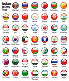 Flag web buttons. Shiny web buttons with asian country flags Stock Image