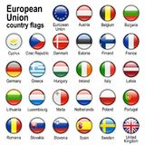 Flag web buttons. Flags of countries - members of European Union Stock Images