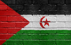 Flag of Western Sahara on brick wall Stock Photos
