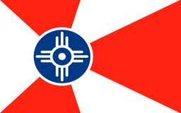 Flag of Wichita in Kansas, USA. Flag of Wichita is the largest city in the State of Kansas and the 49th-largest city in the United States royalty free stock photo