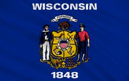 Flag of Wisconsin, USA. Flag of Wisconsin is a U.S. state located in the north-central United States, in the Midwest and Great Lakes regions Stock Image