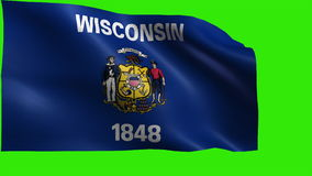Flag of Wisconsin, WI, Madison, Milwaukee, May 29 1848, State of The United States of America, USA state - LOOP stock video