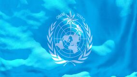 The flag of WMO flutters in the wind