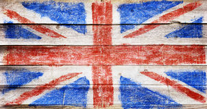 Flag on wood. Great Britain, UK flag on wood texture royalty free stock photography