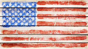 Flag on wood. USA flag on wood texture royalty free stock images