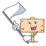 With flag wooden board mascot cartoon vector illustration