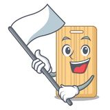 With flag wooden cutting board mascot cartoon vector illustration