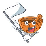 With flag wooden kitchen mortar isolated on mascot royalty free illustration