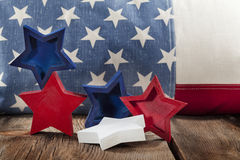 Flag and Wooden Stars Stock Images