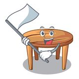With flag wooden table isolated on the mascot stock illustration