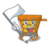 With flag wooden trolley mascot cartoon. Vector illustration stock illustration