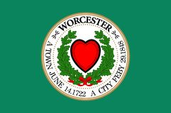 Flag of Worcester in United States. Flag of Worcester is a city in, and the county seat of, Worcester County, Massachusetts, United States. Vector illustration royalty free illustration