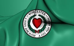 Flag of Worcester, USA. 3D Flag of the Worcester, USA. Close Up royalty free illustration