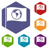 Flag with world planet icons set hexagon. Vector illustration Royalty Free Stock Photos