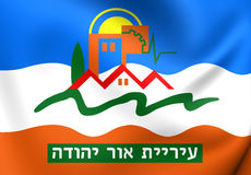Flag of Or Yehuda, Israel. Royalty Free Stock Images