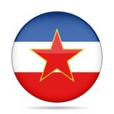 Flag of Yugoslavia. Shiny round button. Stock Image