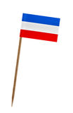 Flag of Yugoslavian Fed. Rep. Tooth pick wit a small paper flag of Yugoslavian Fed. Rep Royalty Free Stock Photography