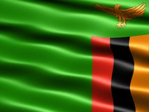 Flag of Zambia. Computer generated illustration with silky appearance and waves Royalty Free Stock Photos