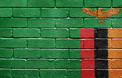 Flag of Zambia on brick wall Stock Photography