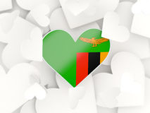 Flag of zambia, heart shaped stickers Stock Images