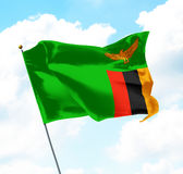 Flag of Zambia. Raised Up in The Sky Royalty Free Stock Image